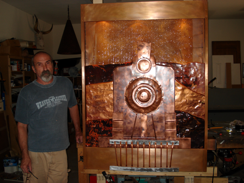 Copper Ghost Train Water Feature by Mike Dumas Copper Designs Inc. http://mikedumascopperdesigns.com/blog