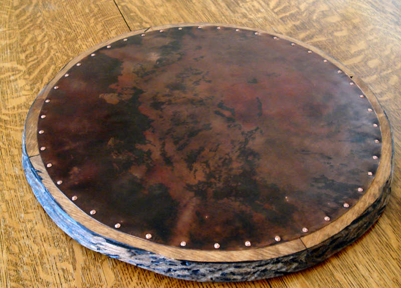 copper and wood lazy susan