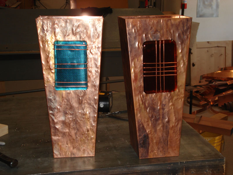 Copper Lighting with Glass Accents » Mike Dumas Copper Designs Inc.