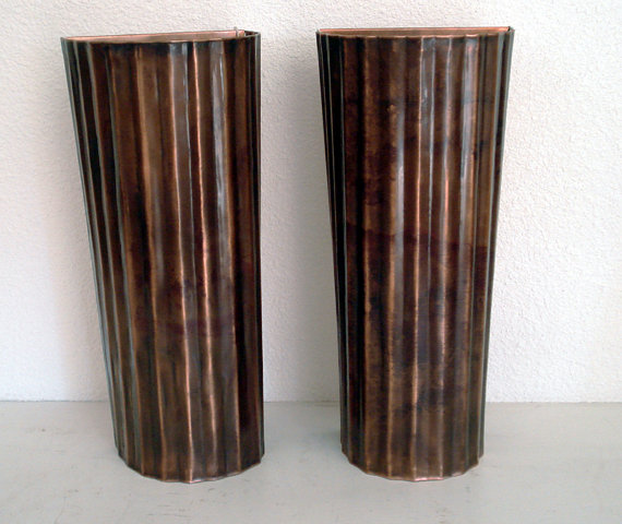 Corrugated Copper Light Sconces by Mike Dumas Copper Designs Inc.
