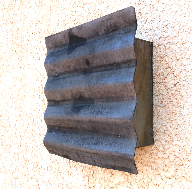 Horizontal Corrugated Steel Light Sconce