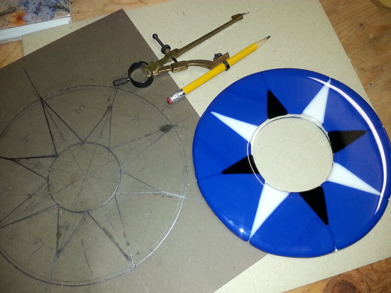 Fused Glass Compass Star