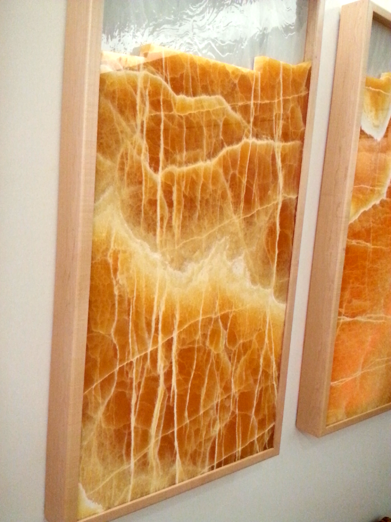 Glass and Amber Onyx Triptych