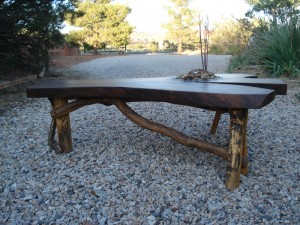 Serenity Table-Black Walnut with Water Feature by Mike Dumas Copper Designs