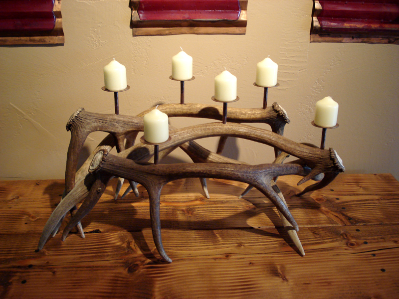 Antler and Copper Candelabra by Mike Dumas Copper Designs