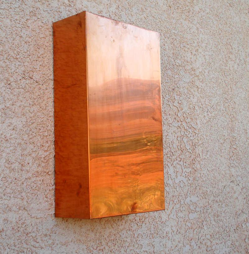 Rectangular Copper Light Sconce by Mike Dumas Copper Designs Inc.