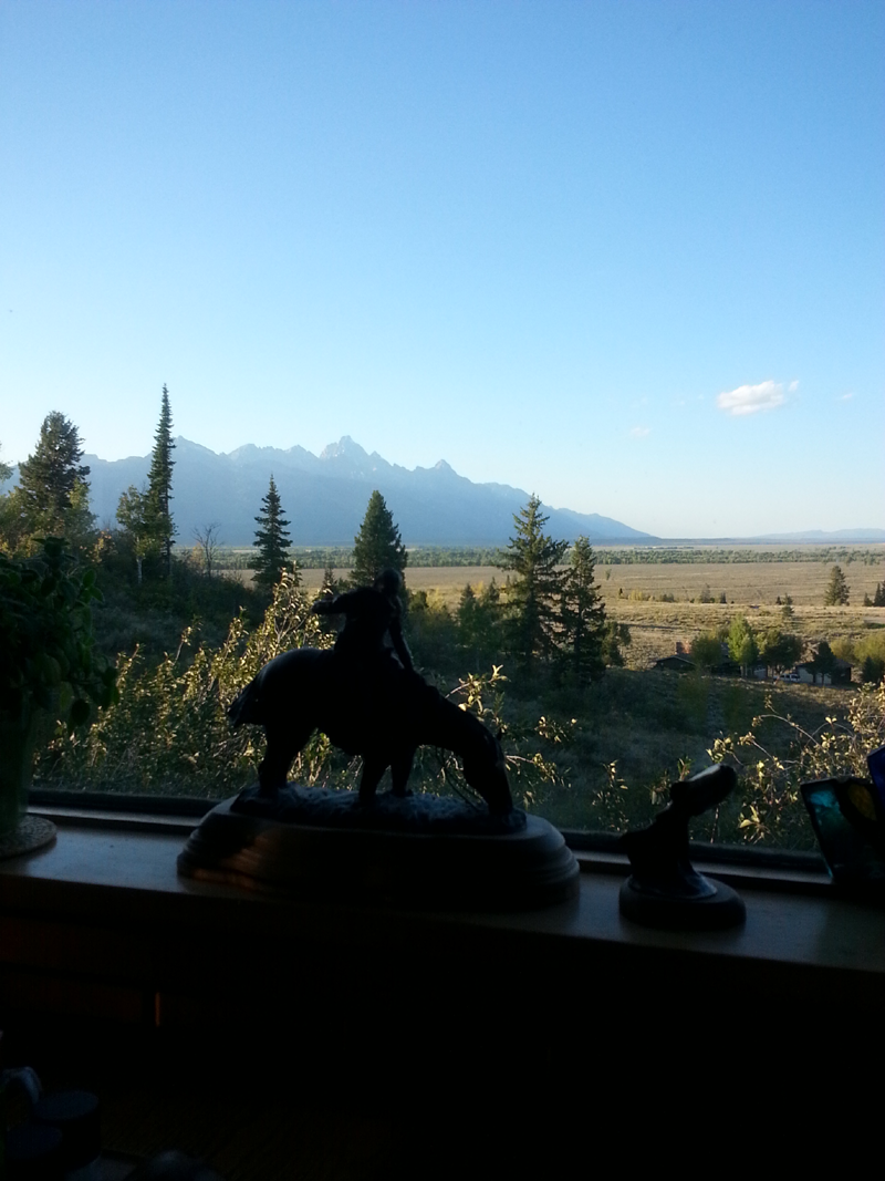 Breathtaking View of the Tetons from Breakfast Table. by Mike Dumas Copper Designs