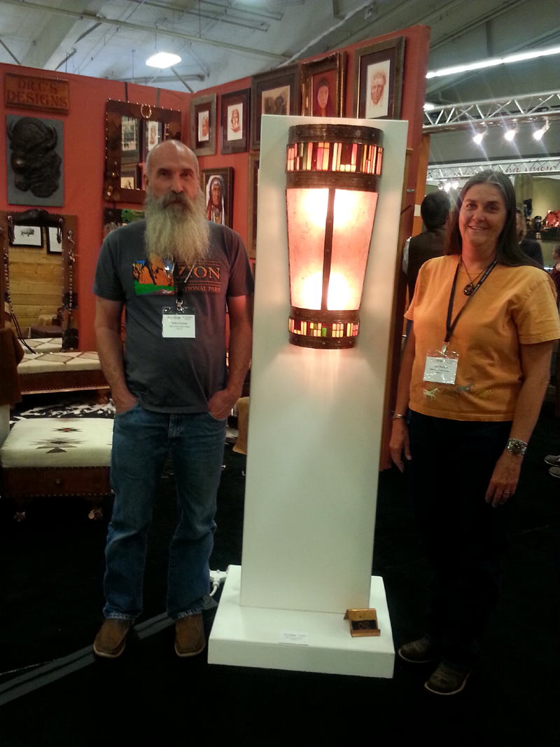 Vintage Rustic Copper Light Sconce by Mike and Julie Dumas-Mike Dumas Copper Designs- Western Design Conference 2014
