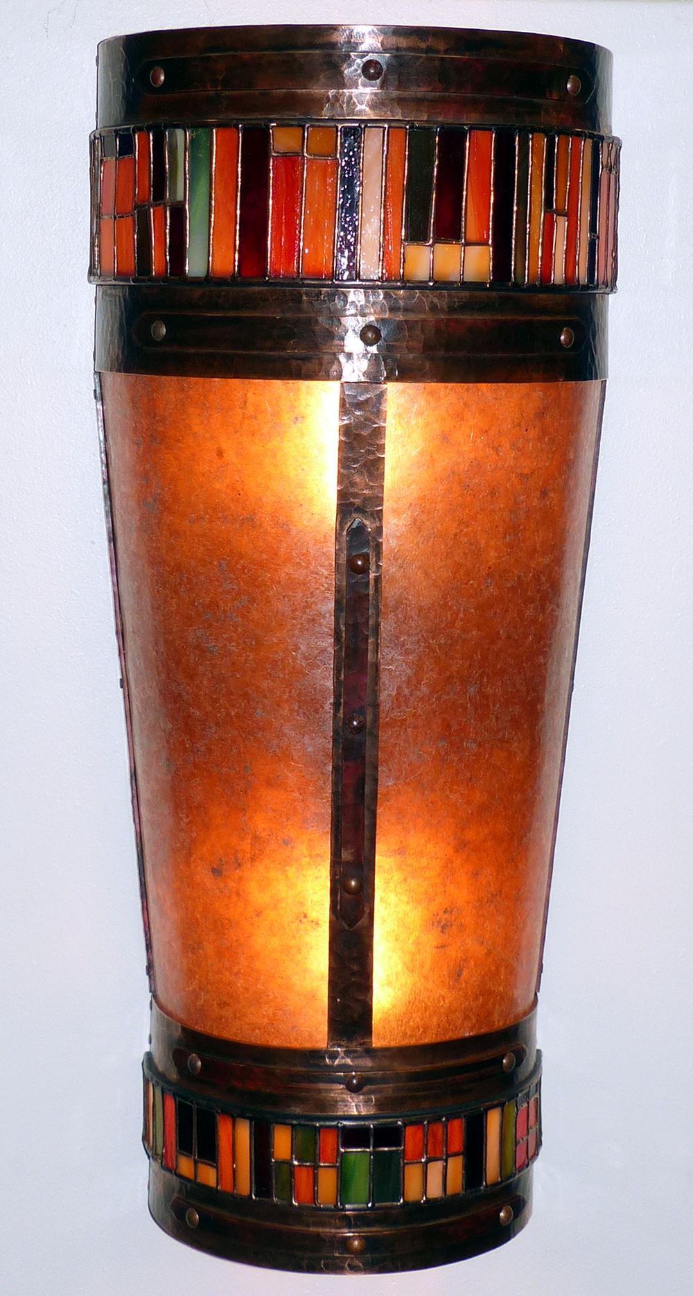 Copper, Glass, and Mica Light Sconce by Mike Dumas Copper Designs Inc.