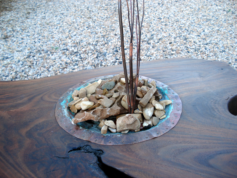 Copper Water Feature in Black Walnut Table by Mike Dumas Copper Designs Inc.