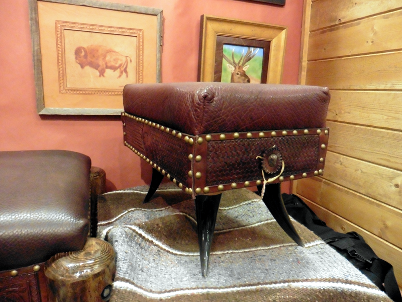 Tooled Leather Stool and Paintings by Dr. C's Designs (photo Mike Dumas Copper Designs Inc.)