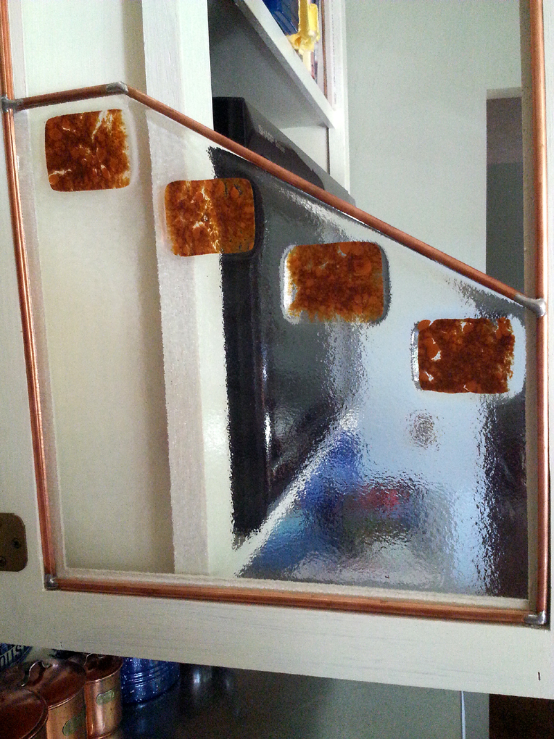 Fused Glass Cabinet Door by Mike Dumas Copper Designs