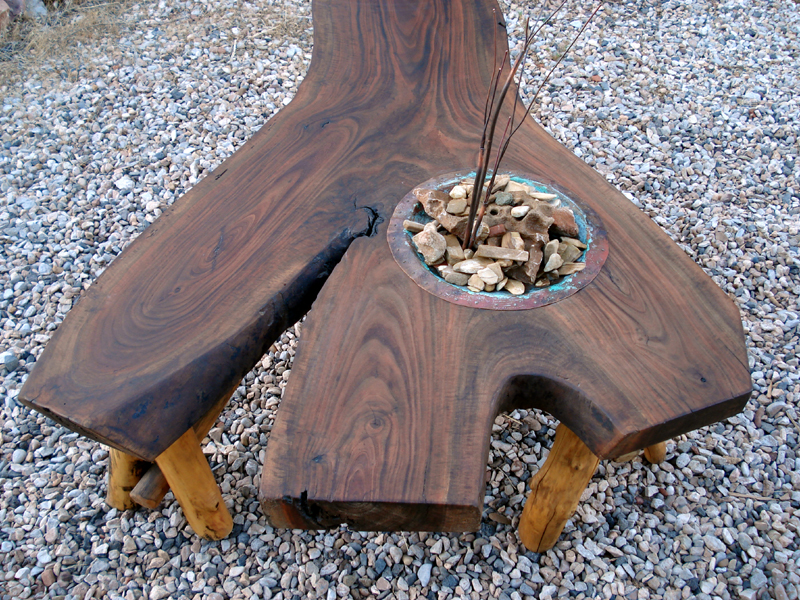 Black Walnut Coffee Table with Copper Water Feature by Mike Dumas Copper Designs Inc.
