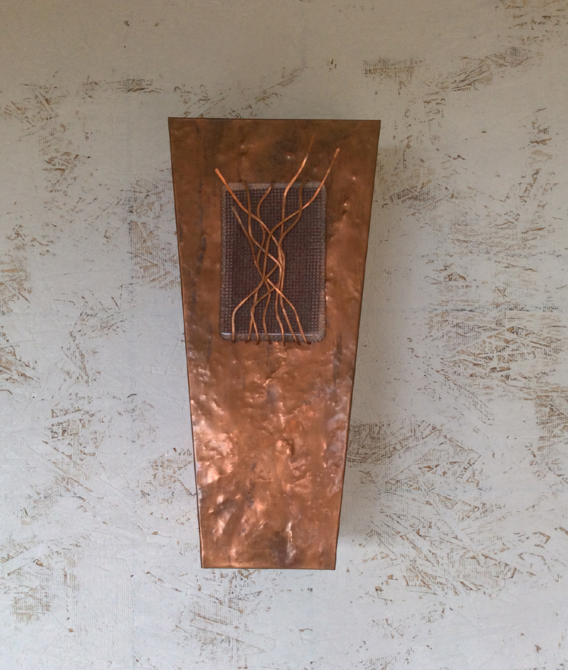 Copper and Glass Light Sconce
