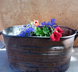 Copper Washtub Planter by Mike Dumas Copper Designs Inc.