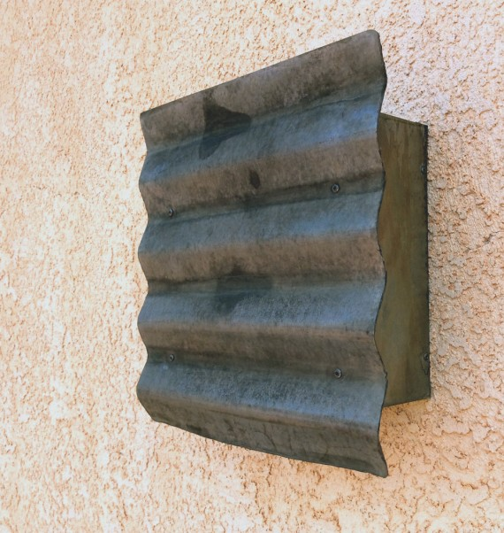 Rustic steel light // corrugated // galvanized steel // rustic industrial style // wall sconce by Mike Dumas Copper Designs.