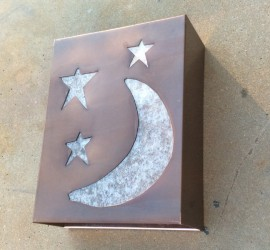copper lighting // moon + stars // outerspace // light sconce by Mike Dumas Copper Designs Inc.