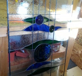 Stained Glass // window // door panel // blue glass + green glass // rondels by Mike Dumas Copper Designs.