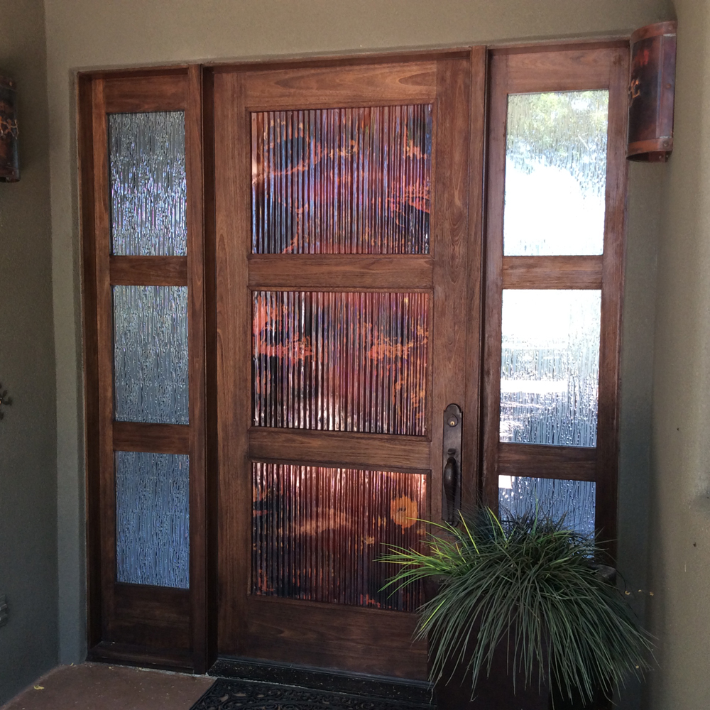 Corrugated copper door // panels // rustic style by Mike Dumas Copper Designs
