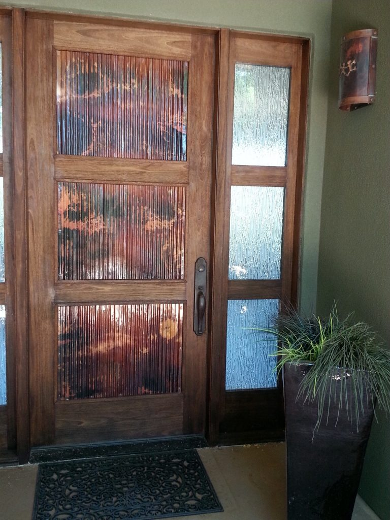 Copper door panels // corrugated metal art by Mike Dumas Copper Designs.