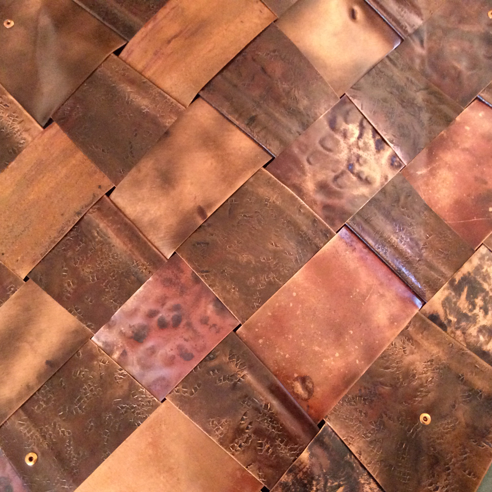 Abstract // woven recycled copper // square wall art by Mike Dumas Copper Designs