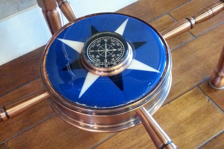 Fused Glass Compass Rose by Mike Dumas Copper Designs Inc. http://mikedumascopperdesigns.com/blog/2015/07/09/the-compass-ro…d-in-my-studio/